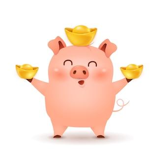 Милый поросенок дизайн персонажа из мультфильма с традиционной китайской красной шляпе и держа китайский золотой слиток, изолированные на белом фоне. год свиньи. зодиак свиньи.