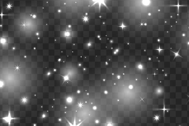 Белые искры и белые звезды сверкают особым световым эффектом. вектор блестит на прозрачном фоне. рождественский абстрактный узор. сверкающие частицы волшебной пыли