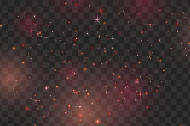 Красные искры и звезды сверкают особым световым эффектом. вектор блестит на прозрачном фоне. рождественский абстрактный узор. сверкающие частицы волшебной пыли