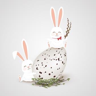 イースター、おめでとう。灰色の背景に分離された現実的な大きな卵をイースターのウサギのウサギ。かわいい、面白い漫画のウサギのキャラクターがパスカルの卵を抱擁します。図