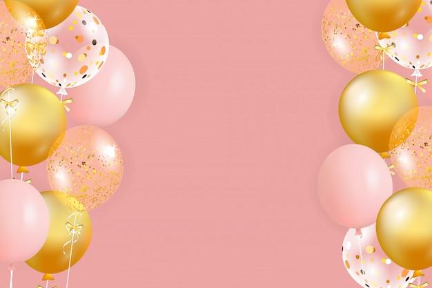 Набор розовых, золотых шаров с пустым пространством для текста. отпразднуйте день рождения, плакат, баннер с юбилеем. реалистичные декоративные элементы дизайна. праздничный фон с гелиевыми шарами.