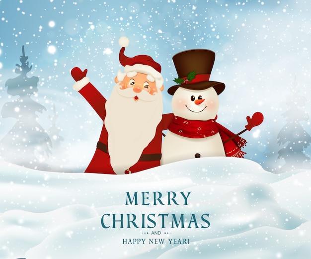 С рождеством. с новым годом. улыбающийся санта-клаус и милый снеговик на большой пустой знак. рождественский фон