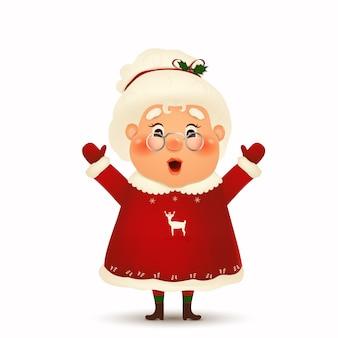 Счастливый миссис клаус мультипликационный персонаж изолированы.