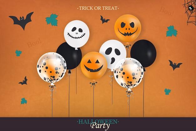 Счастливого хэллоуина. концепция праздника с воздушными шарами хэллоуина