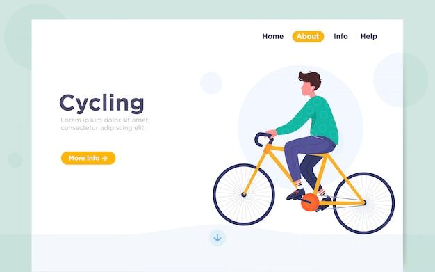 サイクリングのモダンなフラットランディングページの図