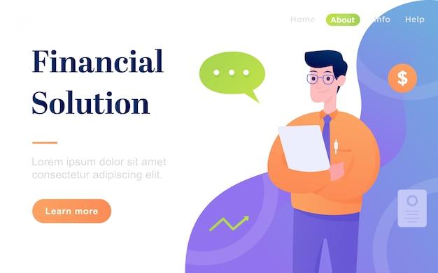 モダンなフラット金融ソリューションのランディングページ