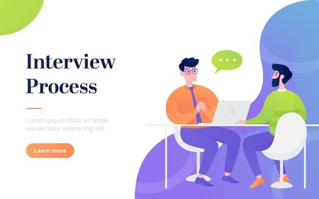 モダンなフラットインタビュープロセスのランディングページ