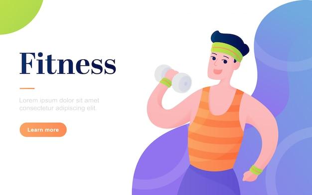 Современный плоский фитнес шаблон целевой страницы