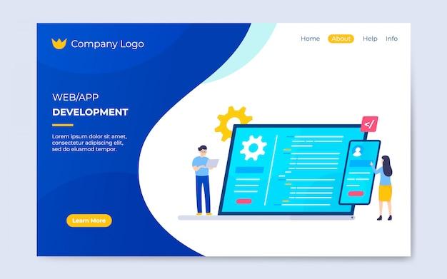 Современный плоский веб-сайт и шаблон целевой страницы разработки приложений