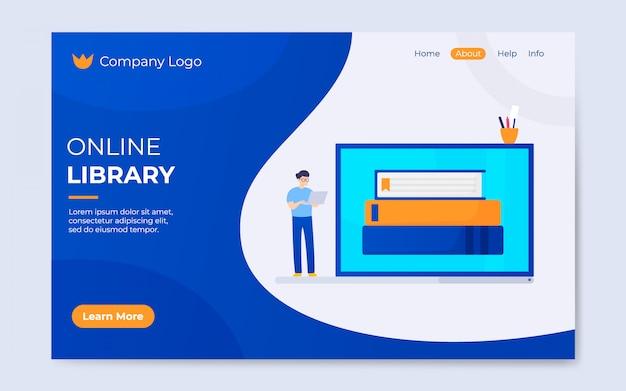 Современный плоский стиль онлайн-библиотека целевой страницы иллюстрации