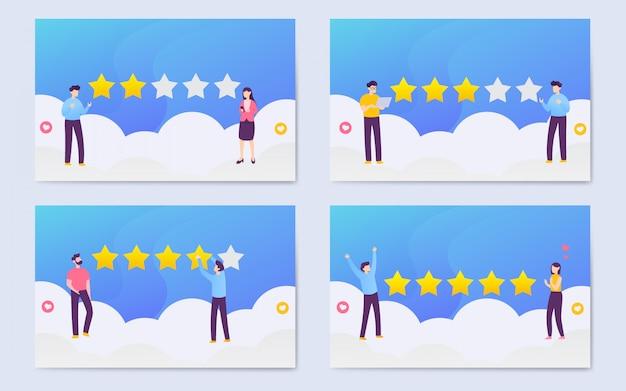 モダンなフラットユーザー評価イラスト背景セット