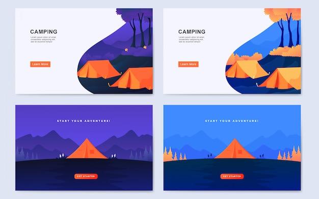 Современный плоский открытый фон лагеря целевой страницы