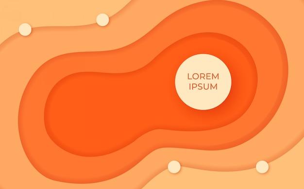 現代のオレンジ色の液体紙カット背景