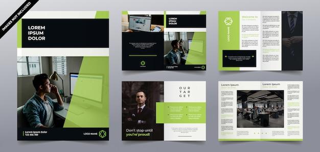 現代のグリーンテクノロジーのパンフレットページデザイン
