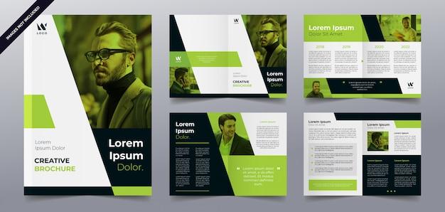 Шаблон страниц брошюры зеленый бизнес