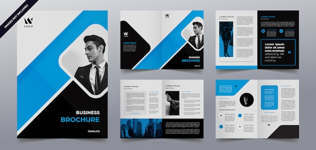 Шаблон страницы брошюры синий бизнес