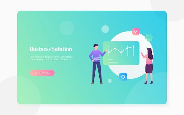 モダンなフラットビジネスソリューションのランディングページの図