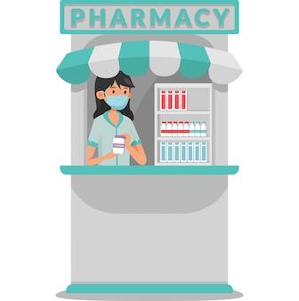 Аптечный киоск в комплекте с иллюстрацией витаминов