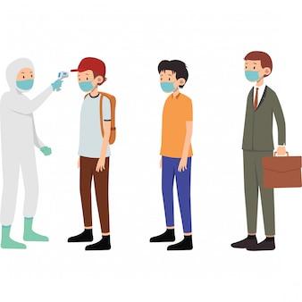 医療従事者は一部の人の体温をチェックします