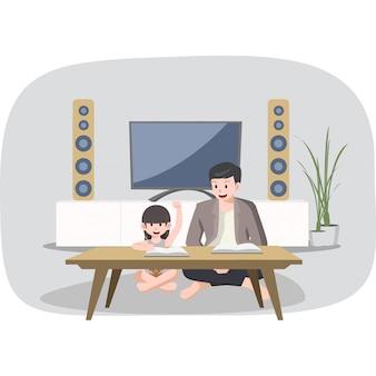 父は家で勉強している彼の娘を助けています