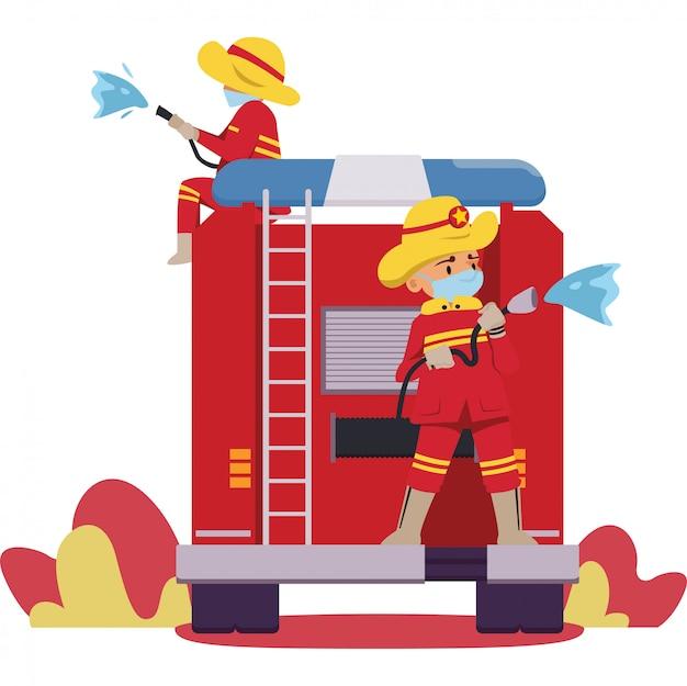 消防士が消防車に消毒剤を一緒に散布している