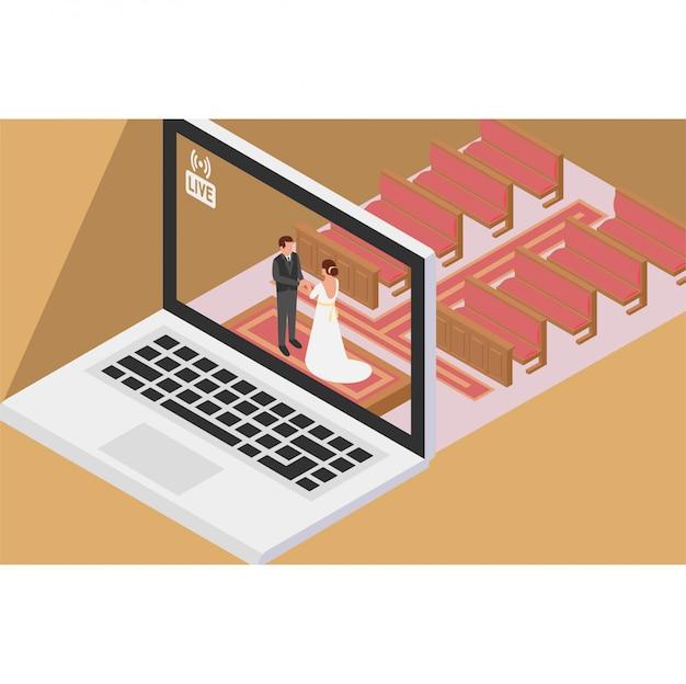 教会でオンライン結婚式をしていて、オンラインでライブを披露しているカップル