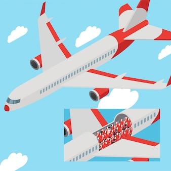 Пассажиры самолета держат дистанцию на сиденьях