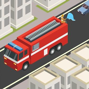 パンデミック時に消防車が路上で消毒剤を散布する消防士