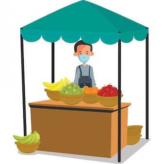 新鮮な果物のイラストを販売する新鮮な果物のベンダー