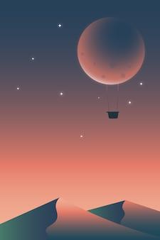 封筒のような月の熱気球。シュールなイラスト