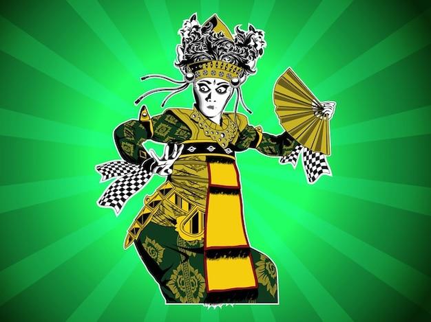 アジアバリ舞踊の装飾ベクトル