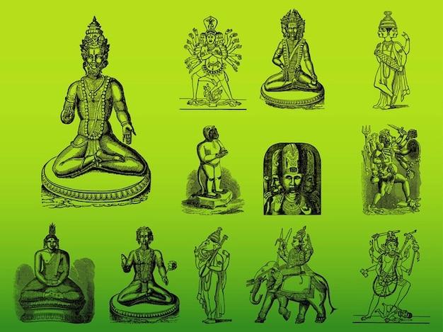 アジア、ヒンドゥー教の神々のベクトルシルエット