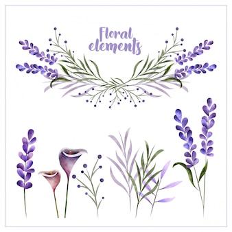 Акварельные цветочные элементы оформления
