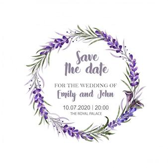 水彩画の花のボーダー。結婚式招待状