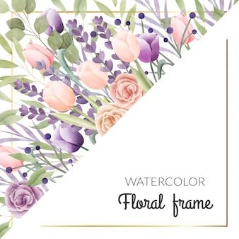 水彩花のフレーム。多目的の背景。