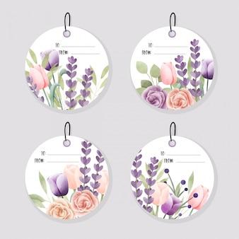 Акварельные цветочные этикетки