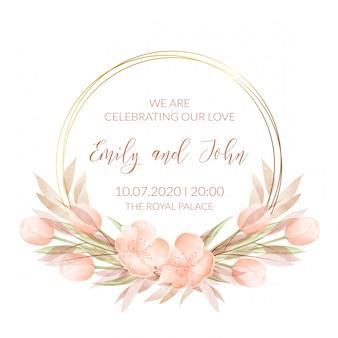 Шаблон свадебного приглашения с акварельными цветами