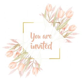 Акварель цветочная рамка пригласительный билет