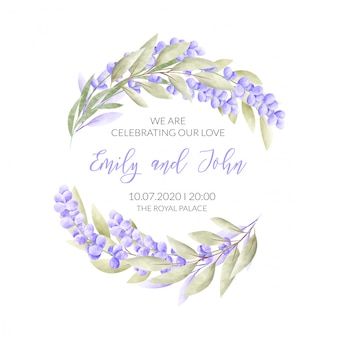 Свадебная открытка с цветочной рамкой