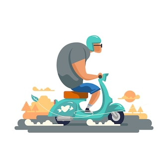 Мотоцикл скутера молодого парня винтажный изолированный на белой предпосылке.