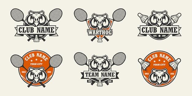 イボイノシシの頭のスポーツのロゴ。バドミントンのロゴのセット。