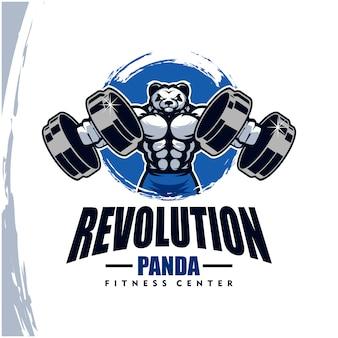 強力なボディ、フィットネスクラブ、ジムのロゴが付いたパンダ。