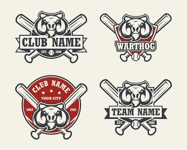 イボイノシシの頭のスポーツのロゴ。野球のエンブレム、バッジ、ロゴ、ラベルのセット。