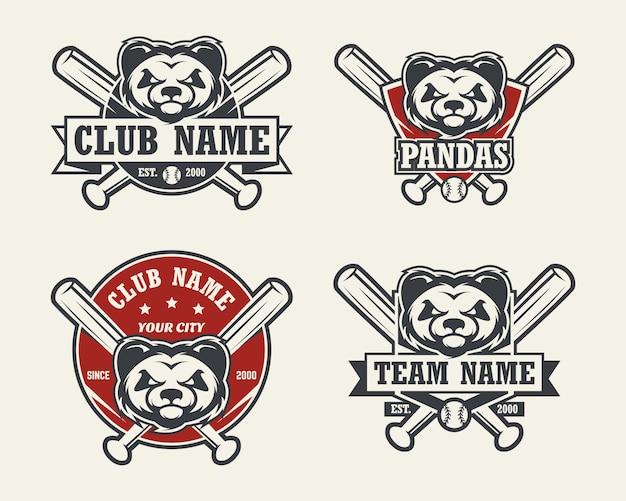 パンダヘッドスポーツのロゴ。野球のエンブレム、バッジ、ロゴ、ラベルのセット。