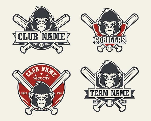 ゴリラヘッドスポーツのロゴ。野球のエンブレム、バッジ、ロゴ、ラベルのセット。