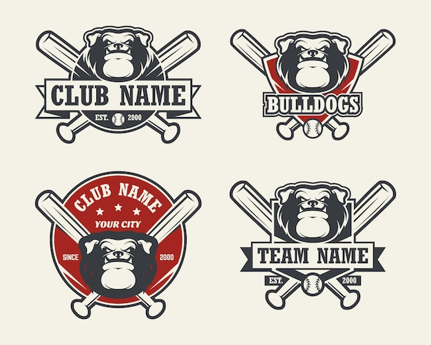 犬ブルドッグヘッドスポーツのロゴ。野球のエンブレム、バッジ、ロゴ、ラベルのセット。