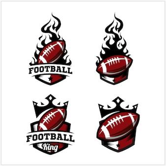 サッカーボールの火と王のバッジのロゴ