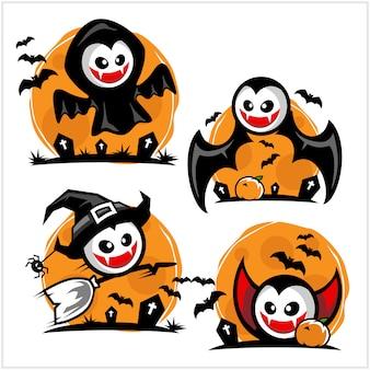 Хэллоуин мультяшный вампир логотип набор