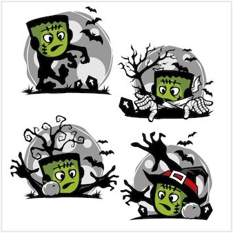 Хэллоуин зомби мультфильм логотип набор