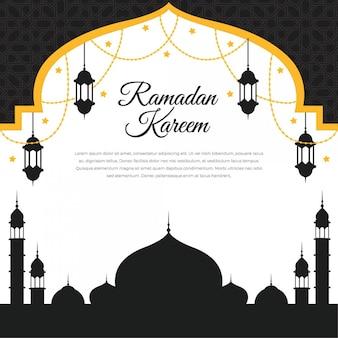 Рамадан карим исламский дизайн с мечетью с фонарем и силуэтом